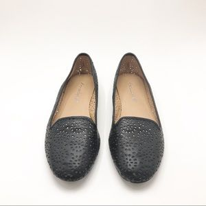 American Eagle | Black leather laser cut Loafers.